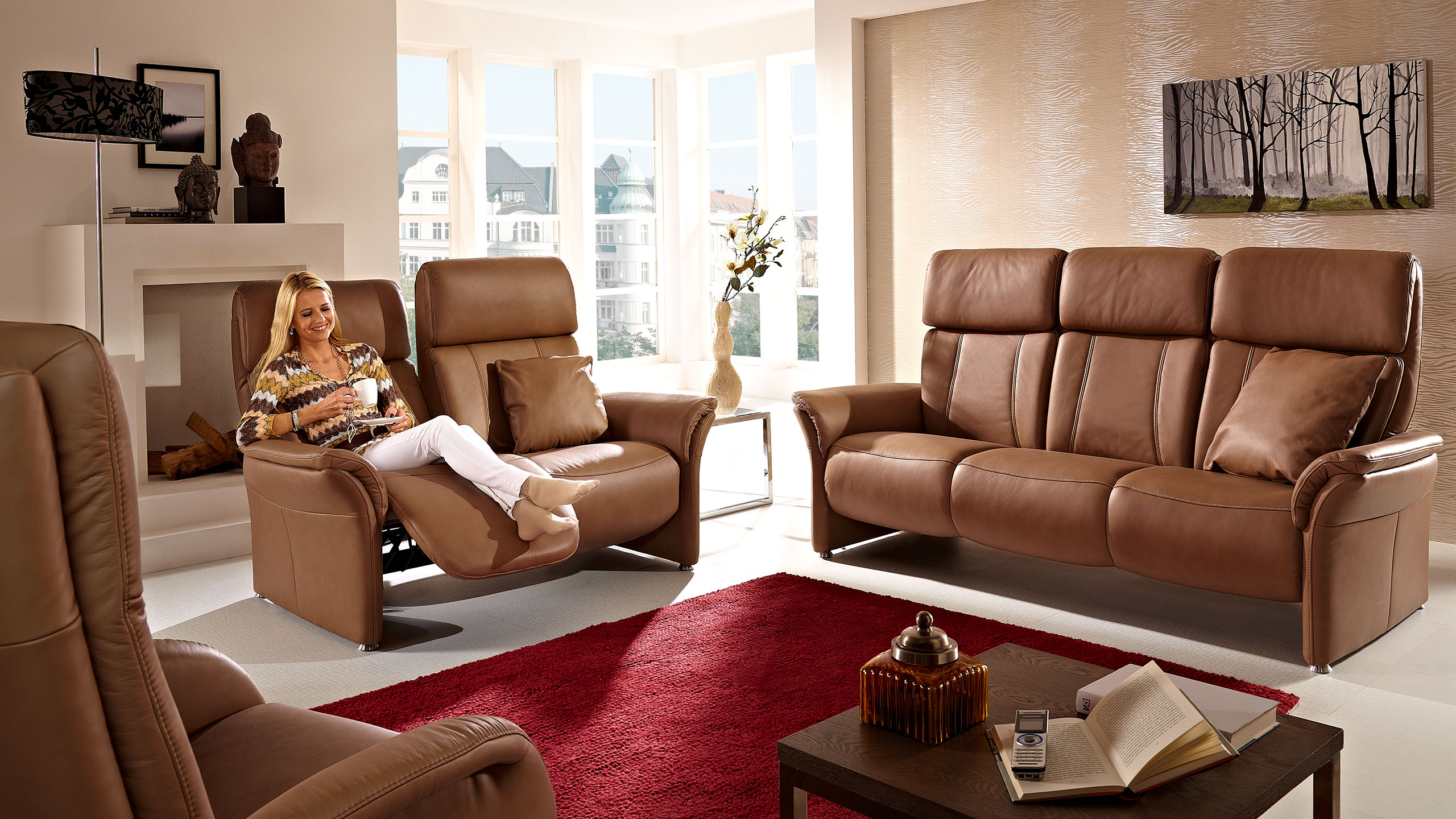 Magic Comfort Sofa 209 cm Leder Braun