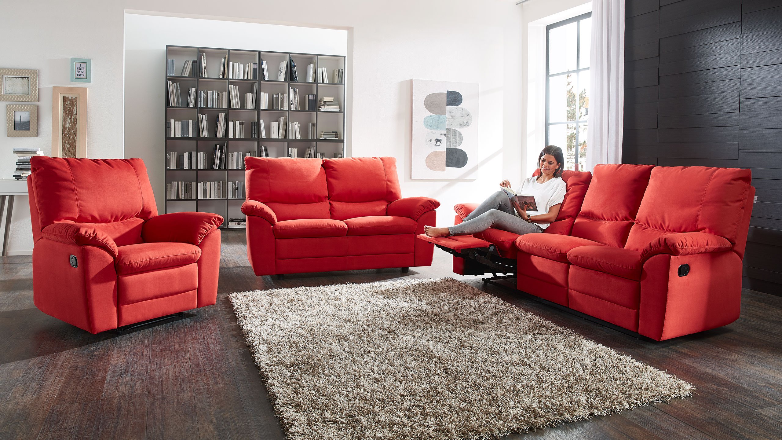 Marea Sofa Garnitur Stoff Rot