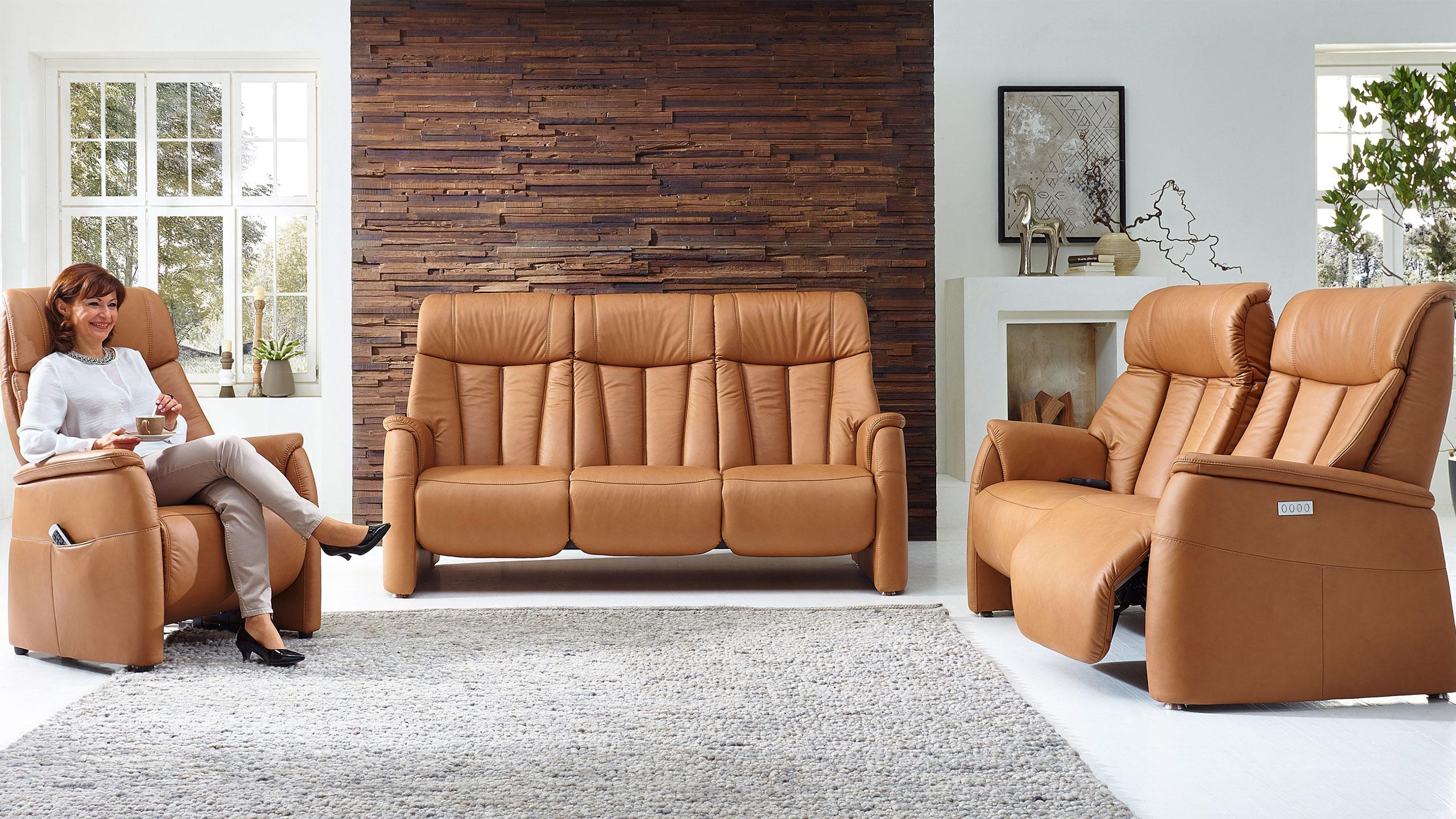 Triton Sofa Garnitur Leder Braun