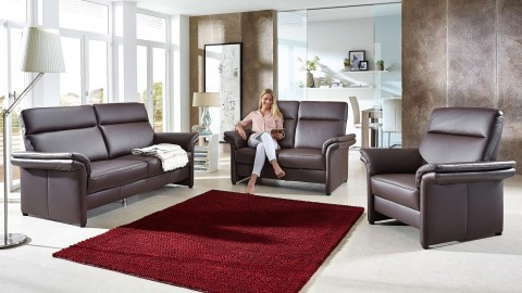 London Sofa 144 cm Leder Braun