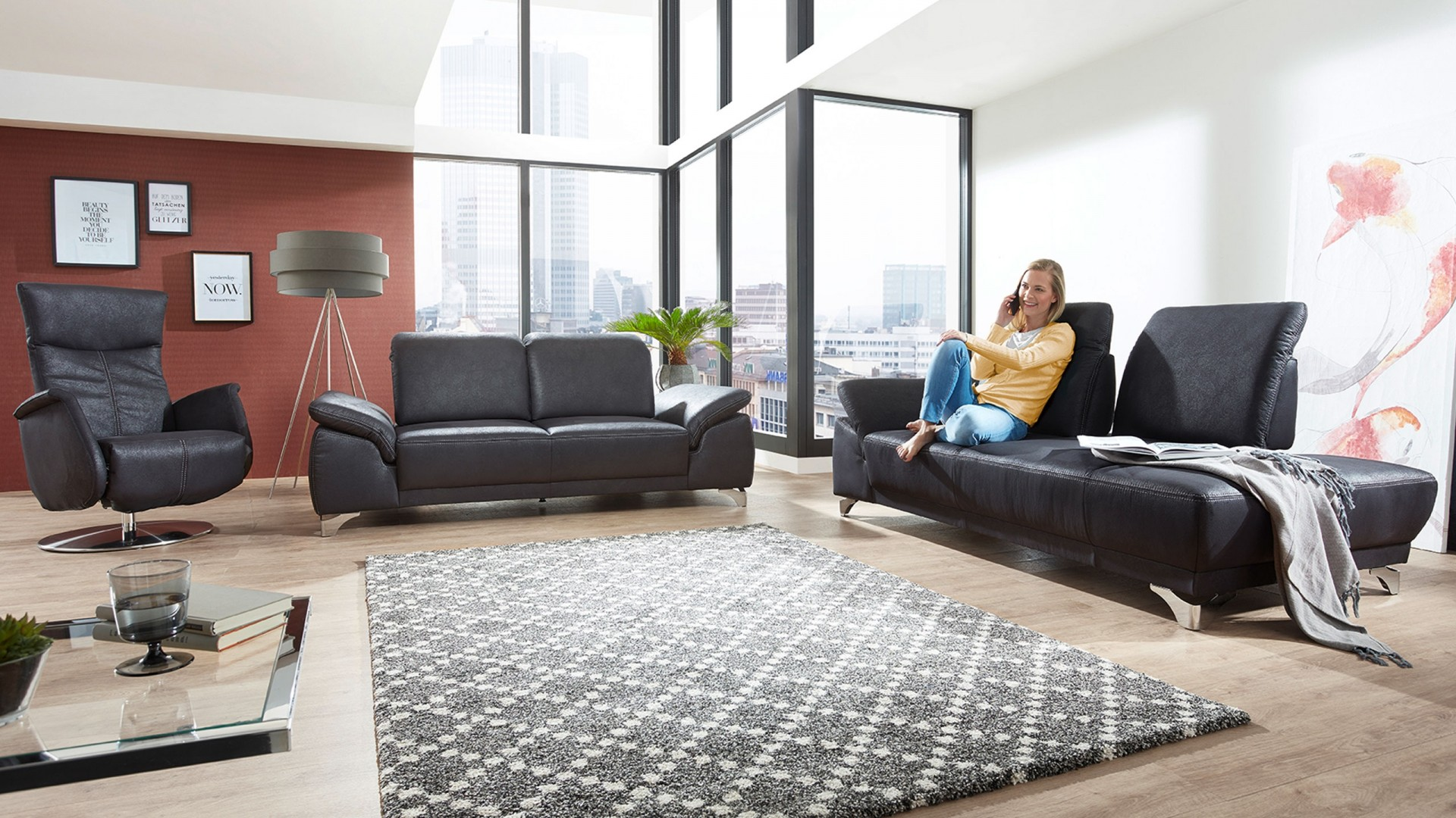 Uno Sofa Stoff Schwarz