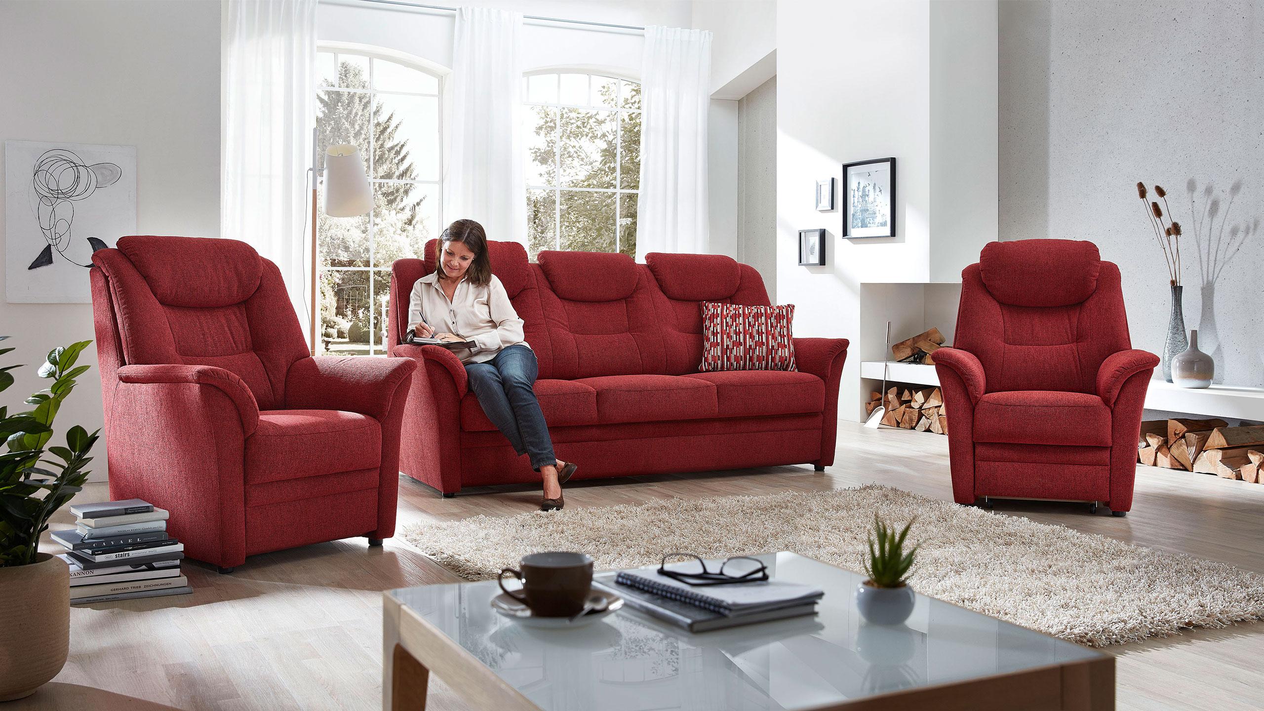 Köln Sofa Stoff Rot