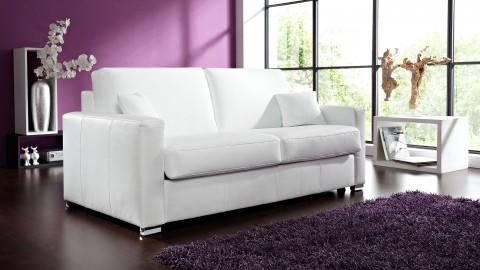 Coco Schlafcouch Leder Weiss
