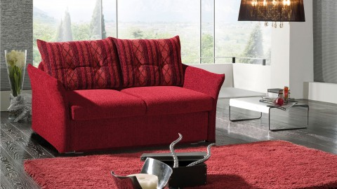 Basel Schlafcouch Stoff Rot