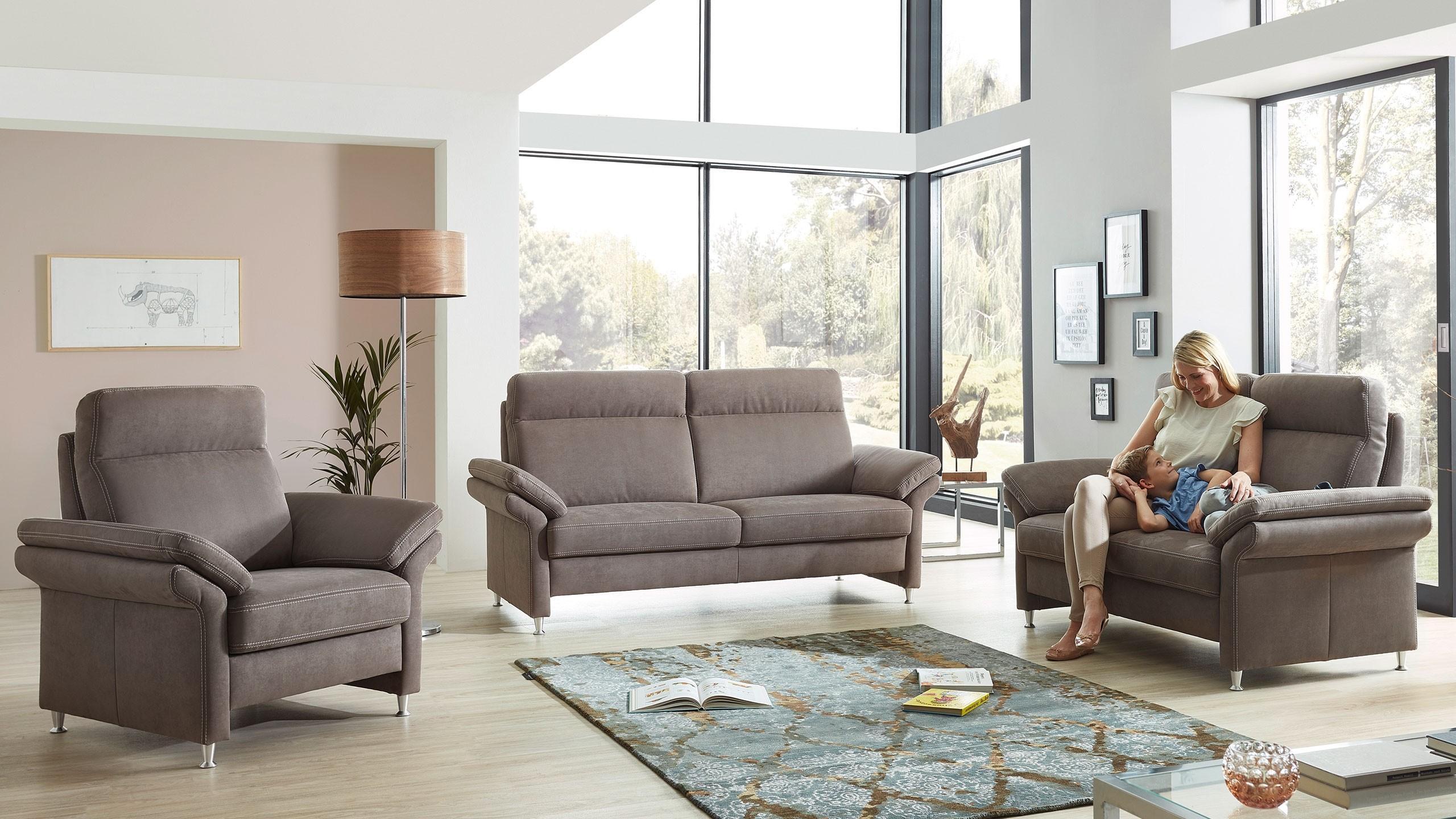 Malaga Sofa Garnitur Stoff Grau